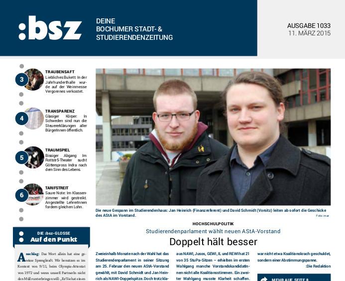 :bsz-Ausgabe 1033 vom 11. März 2015